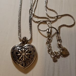 "Brighton heart pendant,  32"" long"